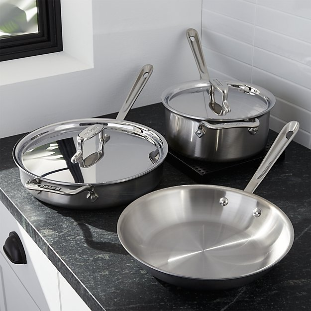 all clad d5 brushed stainless steel 5 piece cookware set reviews crate and barrel. Black Bedroom Furniture Sets. Home Design Ideas