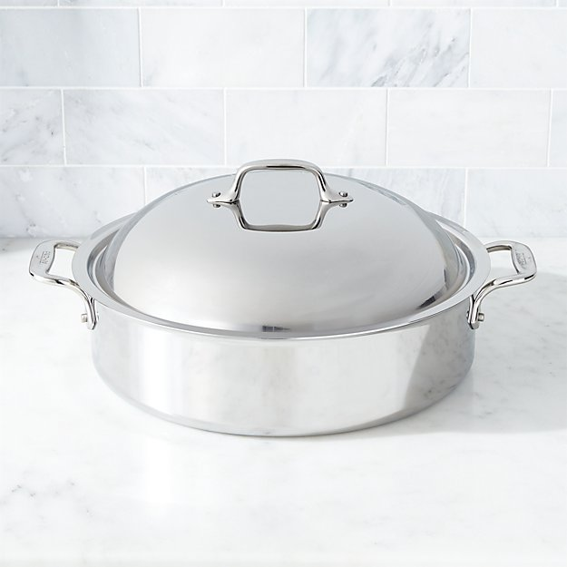 All Clad D3 Stainless Steel 6 Qt French Braiser With Rack