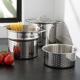 All Clad R 8 Qt Stainless Steel Multipot With Perforated Insert And Steamer