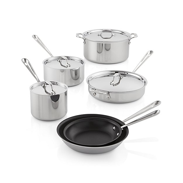 All Clad Stainless Steel Non Stick 10 Piece Cookware Set With Bonus Reviews Crate And Barrel