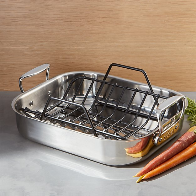 all clad roasting pan with rack crate and barrel. Black Bedroom Furniture Sets. Home Design Ideas