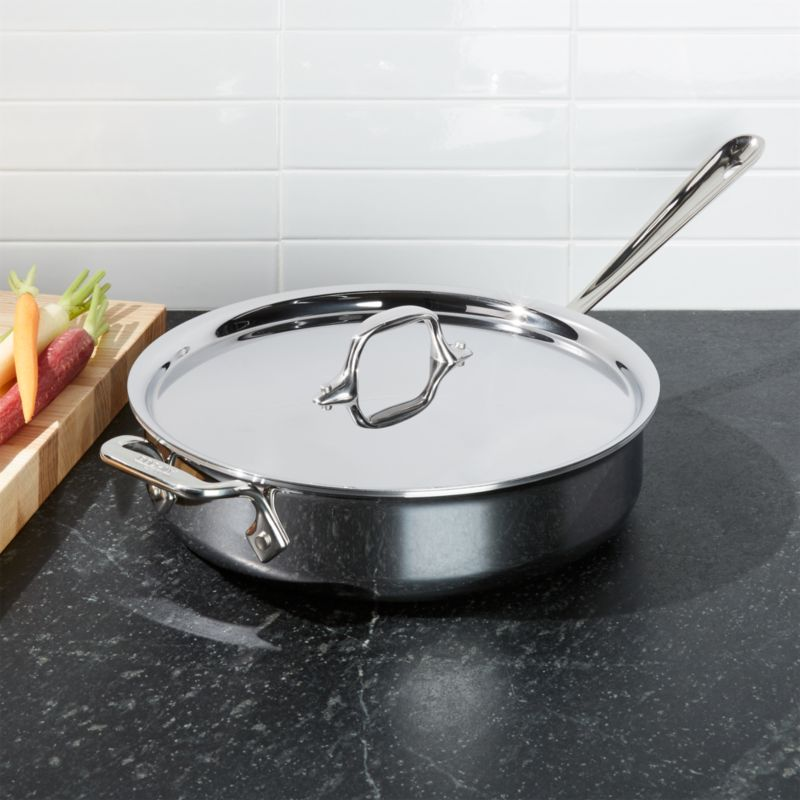 All Clad D3 Stainless Steel 3 Qt Saute Pan With Lid