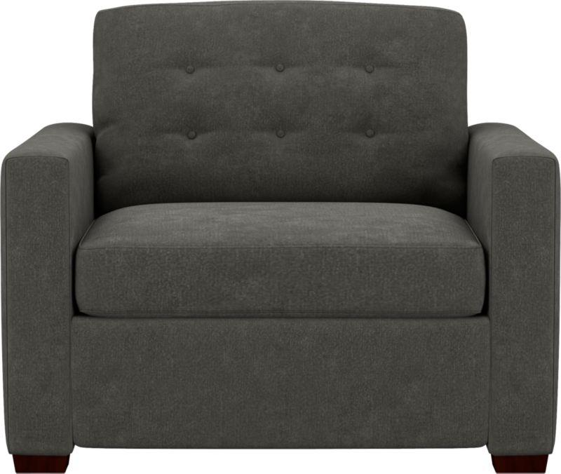 "<ul><li>Kiln-dried wood frame</li><li>Seat cushion is soy-based polyfoam</li><li>Back cushion is polyfiber encased in synthetic ticking</li><li>5"" high-density foam mattress is spill-, dirt-, germ- and microbe-resistant</li><li>Spring-loaded sleeper mechanism</li><li>Mattress ticking protected by anti-microbial, allergen-free, waterproof and stain-resistant Crypton</li><li>Benchmade</li><li>See additional frame options below</li></ul><br /><NEWTAG/>"