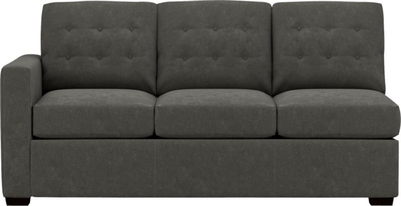 """Contemporary sleeper plays off mid-century tradition with bold squared-off lines, clean track arms and a button tufted back. Inside, it's all 21st century. Innovative wood frame with spring-loaded mechanism and double padded handles make setup a breeze. And the seat and back cushions easily lift off with new snug fit foam roll attachments. Luxurious 5""""-thick high-density foam mattress is treated with stain-repellent and anti-microbial protection. Hardwood legs are finished a dark walnut. Pairs with Left Arm Corner Sofa to create a sectional.<br /><br />After you place your order, we will send a fabric swatch via next day air for your final approval. We will contact you to verify both your receipt and approval of the fabric swatch before finalizing your order.<br /><br /><NEWTAG/><ul><li>Eco-friendly construction</li><li>Kiln-dried wood frame</li><li>Seat cushions are soy-based polyfoam</li><li>Back cushions are polyfiber encased in synthetic ticking</li><li>5"""" high-density foam mattress is spill-, dirt-, germ- and microbe-resistant</li><li>Spring-loaded sleeper mechanism</li><li>Mattress ticking protected by anti-microbial, allergen-free, waterproof and stain-resistant Crypton</li><li>Benchmade</li><li>See additional frame options below</li></ul>"""