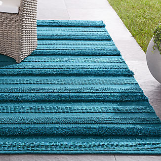 Alma Blue Fringe Indoor/Outdoor Rug