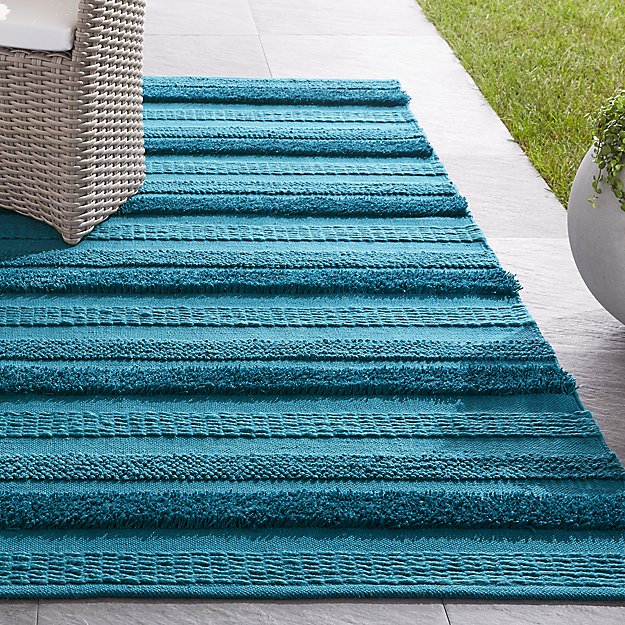 Alma Blue Fringe Indoor/Outdoor Rug - Image 1 of 4