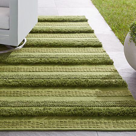 Alma Green Fringe Indoor Outdoor Rug