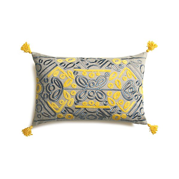 "Alonzo 20""x13"" Pillow with Feather-Down Insert"