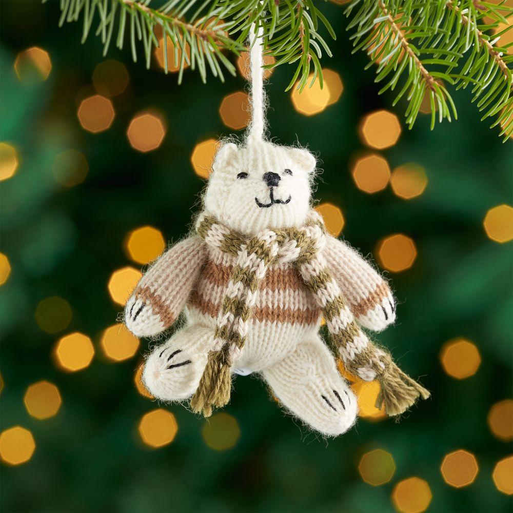 Alpaca Polar Bear Ornament with Scarf
