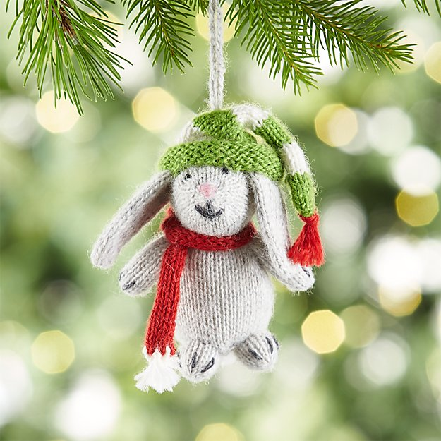 Alpaca Grey Bunny with Hat and Scarf Ornament