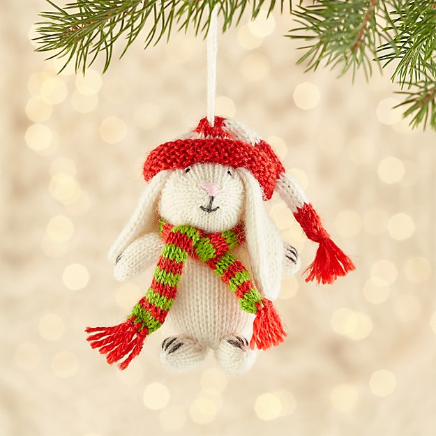 Alpaca White Bunny with Hat and Scarf Ornament