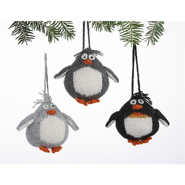 Set of 3 Alpaca Chubby Penguin Ornaments