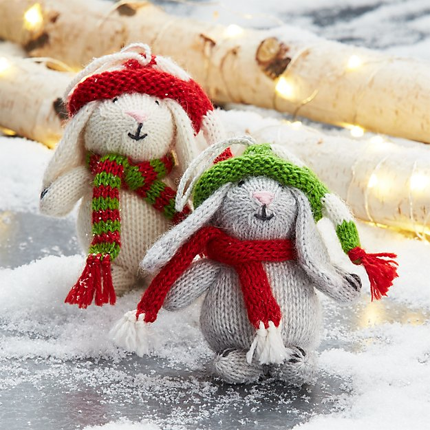 Alpaca Bunny with Hat and Scarf Ornaments