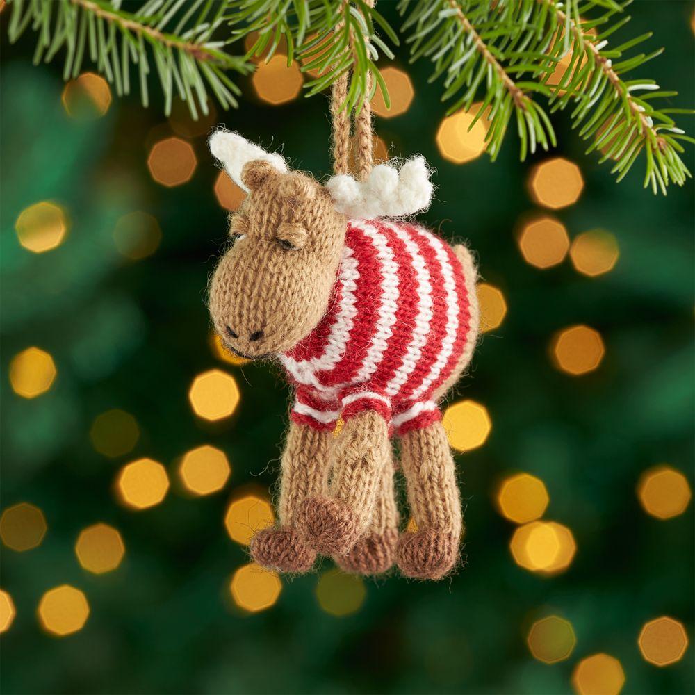 Alpaca Moose Ornament with Sweater