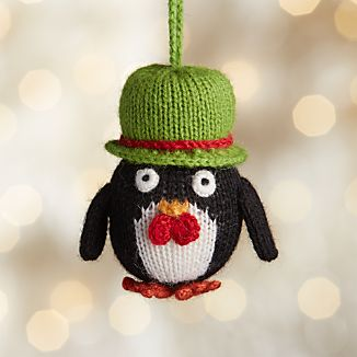 Alpaca Penguin with Bowtie Christmas Ornament