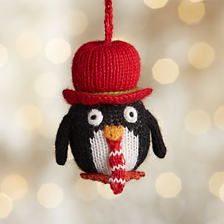 Alpaca Penguin with Neck Tie Christmas Ornament