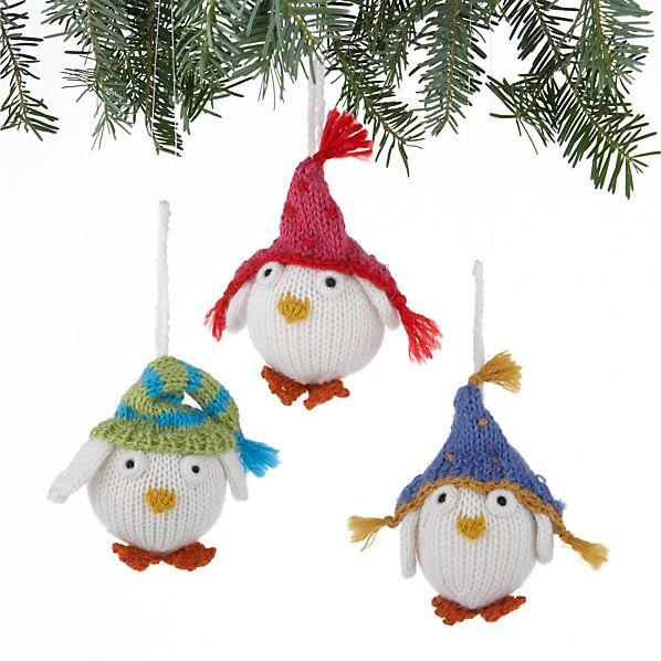 Set of 3 Alpaca Snowy Owl Ornaments