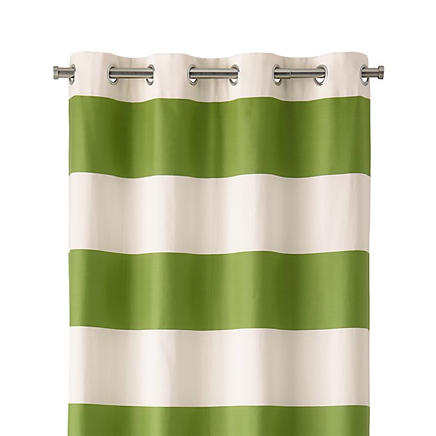 "Alston 50""x84"" Ivory/Green Striped Curtain Panel"