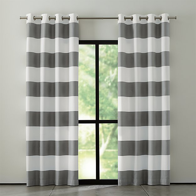 Alston IvoryGrey Striped Curtains Crate and Barrel
