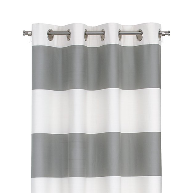"Alston 50""x84"" Ivory/Grey Striped Curtain Panel"