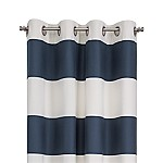 Alston 50 x84  Ivory/Blue Striped Curtain Panel