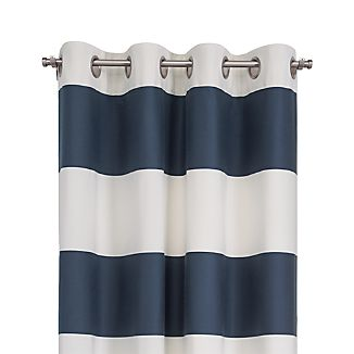 "Alston 50""x84"" Ivory/Blue Striped Curtain Panel"