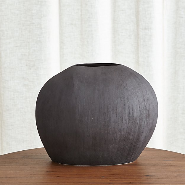 Alura Short Dark Grey Oval Ceramic Vase - Image 1 of 13