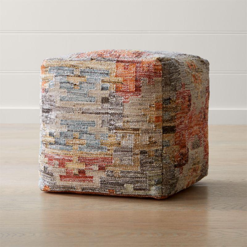 Alvarez 18 x18 garden square pouf in poufs reviews for Crate and barrel pouf