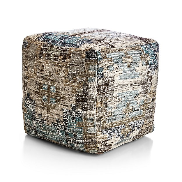 Alvarez mineral pouf crate and barrel for Crate and barrel pouf