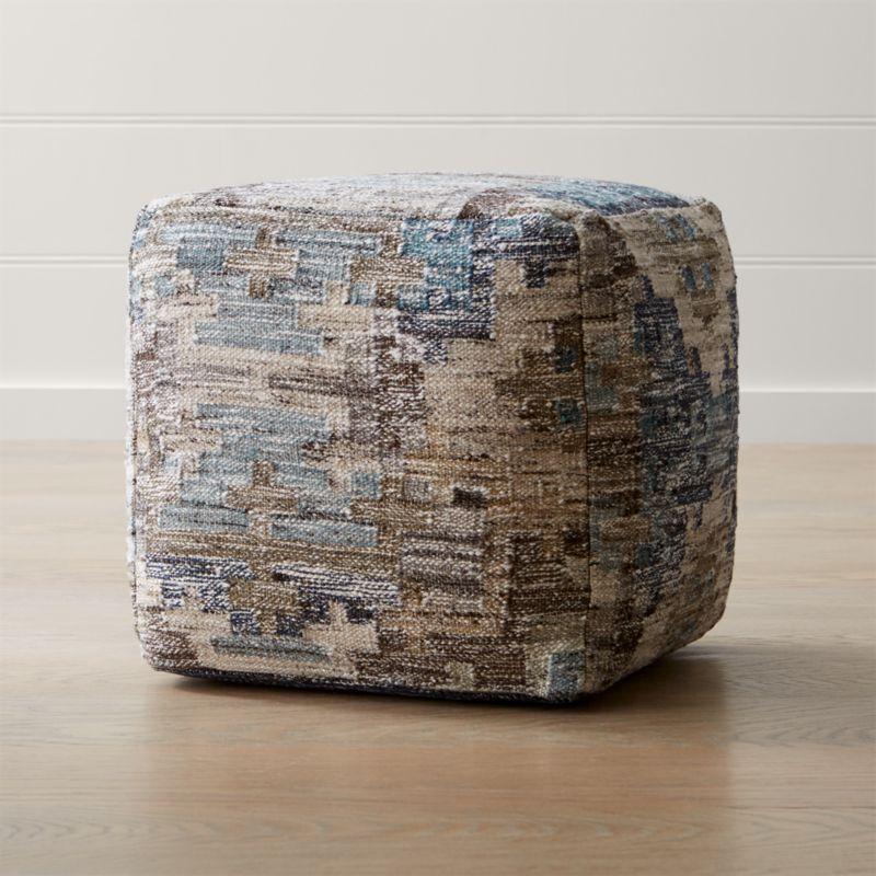 Alvarez 18 x18 mineral square pouf in poufs reviews for Crate and barrel pouf