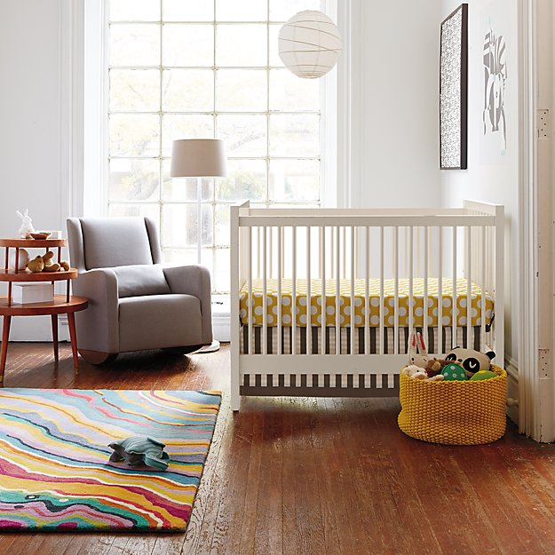 Nursery Decorating Ideas Neutral: Baby Crib Bedding: Baby Grey & Yellow Patterned Crib