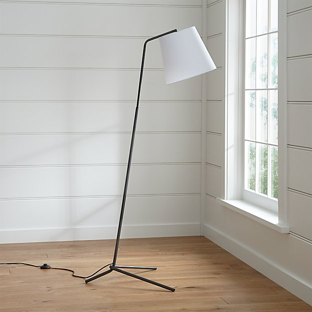 Angle Pewter Floor Lamp | Crate and Barrel