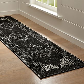 Anice Black Hand Knotted Oriental Style Runner Rug
