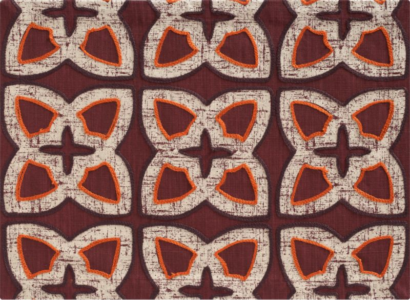 Fall tones go bold in geometrics inspired by traditional block prints. Textural motifs are detailed in gold and chocolate brown embroidery on deep currant red.<br /><br /><NEWTAG/><ul><li>100% cotton</li><li>100% viscose embroidery</li><li>Machine wash; dry flat; warm iron as needed</li><li>Made in India</li></ul>