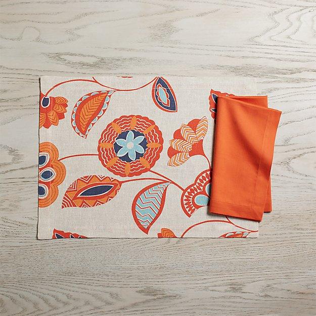 Anju Linen Placemat and Fete Orange Cloth Dinner Napkin