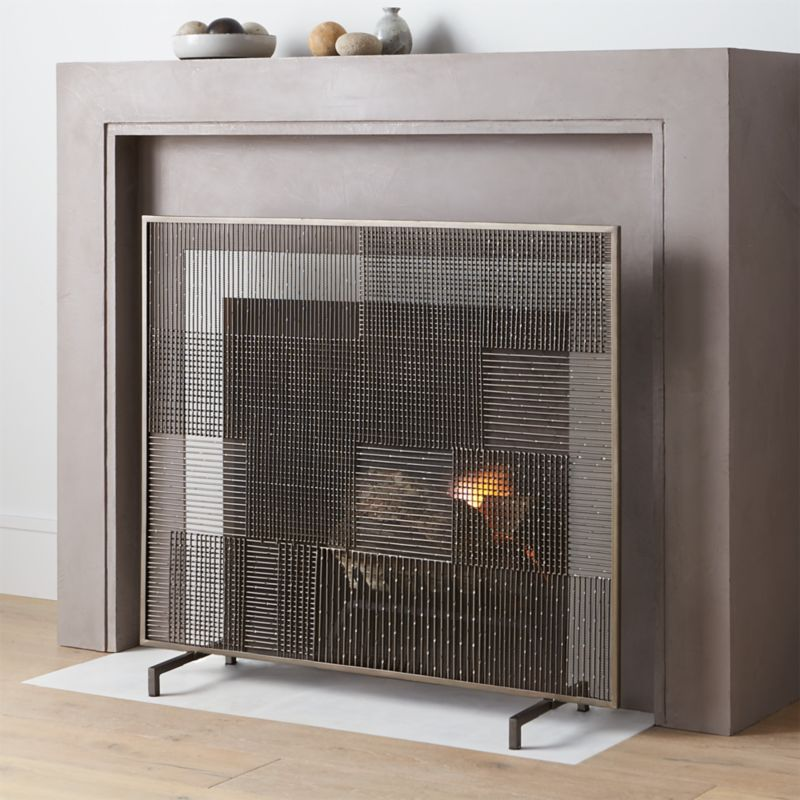 Ansel Plaid Fireplace Screen Screens  Tools and Accessories Crate Barrel