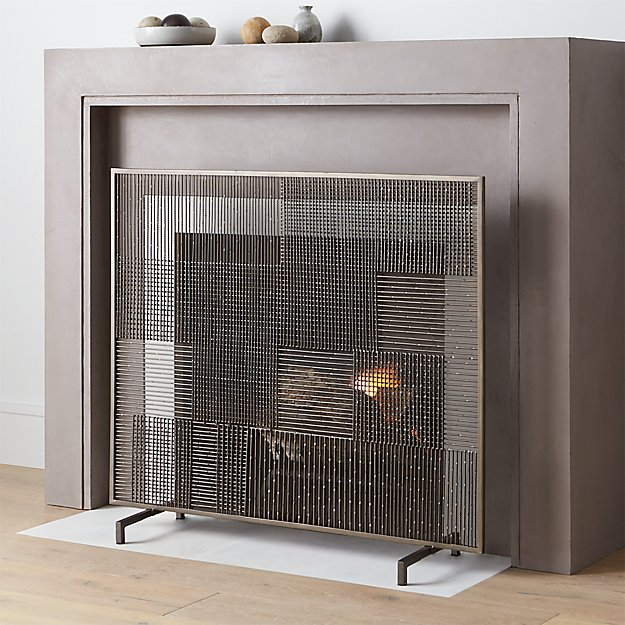 Shop Ansel Plaid Fireplace Screen.  A clean and simple