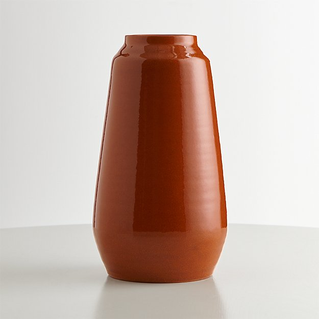Ansley Pumpkin Orange Ceramic Tall Vase