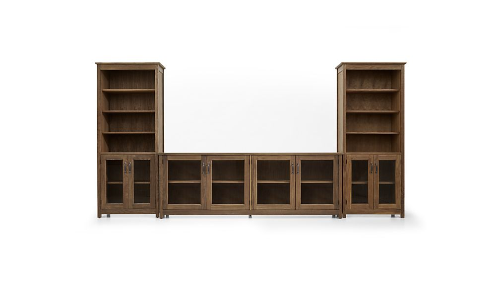 """Ainsworth Walnut 85"""" Media Console and Two 30"""" Towers with Glass/Wood Doors"""