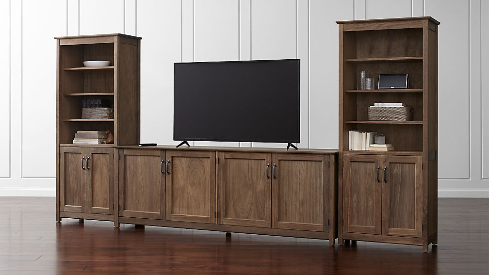Ainsworth Walnut 85 Media Console And Two 30 Towers With Gl Wood Doors Reviews Crate Barrel