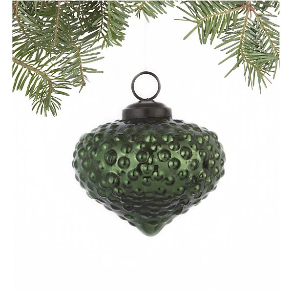Antiqued Dark Green Dotted Onion Ornament