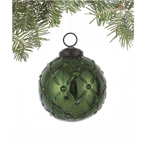 Antiqued Dark Green Lattice Ball Ornament