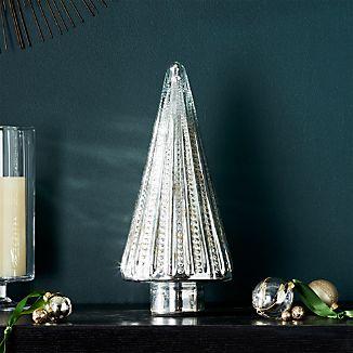 "Antique Glass Silver Lit 15"" Tree"