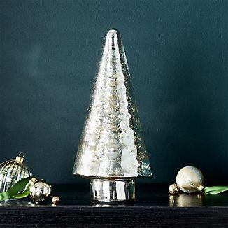 "Antique Glass Silver Lit 12"" Tree"