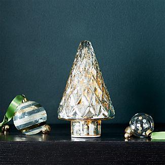 "Antique Glass Silver Lit 7.5"" Tree"