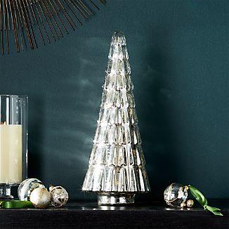 "Antique Glass Silver Lit 17.5"" Tree"