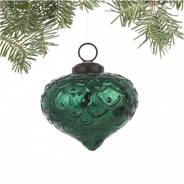 Antiqued Light Green Onion Ornament
