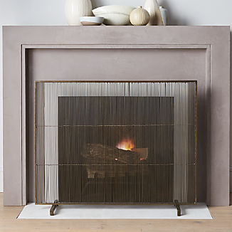 Antiqued Br Fireplace Screen