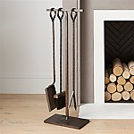 Antiqued Brass Fireplace Tool Set
