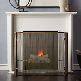 Antiqued 3-Panel Brass Fireplace Screen